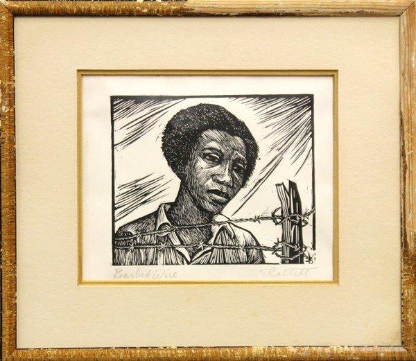6299: Linoleum cut, Elizabeth Catlett, Barbed Wire