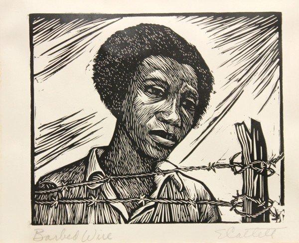 6299: Linoleum cut, Elizabeth Catlett, Barbed Wire - 2