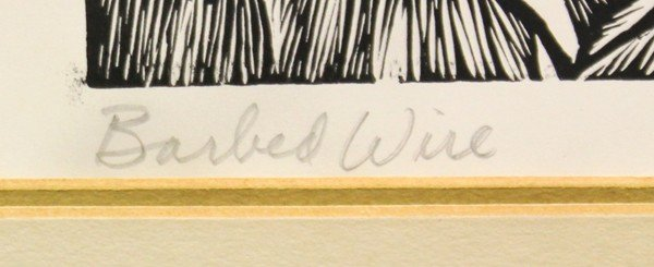 6299: Linoleum cut, Elizabeth Catlett, Barbed Wire - 3