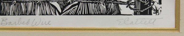 6299: Linoleum cut, Elizabeth Catlett, Barbed Wire - 4