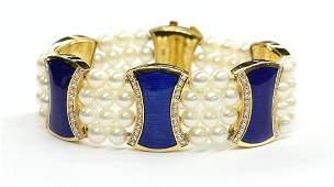 6483: Cultured pearl, diamond and blue enamel bracelet