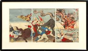 8023 Japanese SinoJapanese War Triptych Kokunimasa