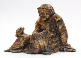 3: Chinese Gilt Metal Figure of Liuhai and Toad