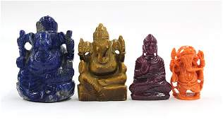 4: Four Asian Carvings of Ganesh and Buddha