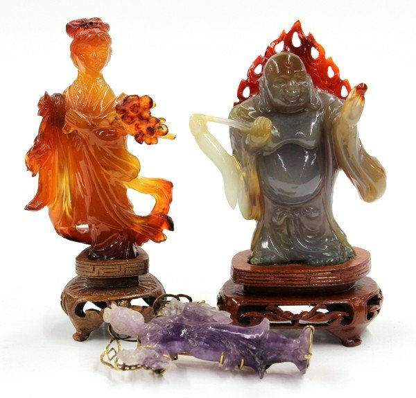 7: Three Chinese Carved Stone Figures