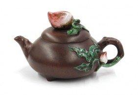 Chinese Polychrome Zisha Ceramic Teapot