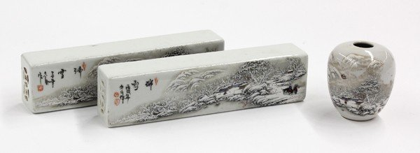 16: Chinese Porcelain Scroll Weights/Washer, Winter