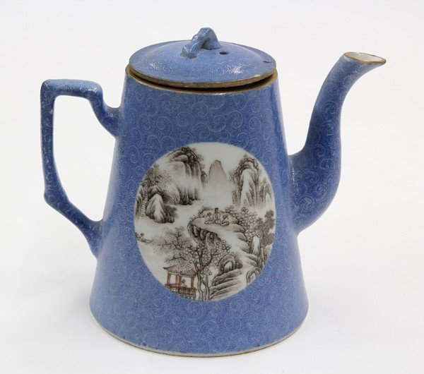 21: Chinese Enameled Blue Sgraffito Pouring Vessel