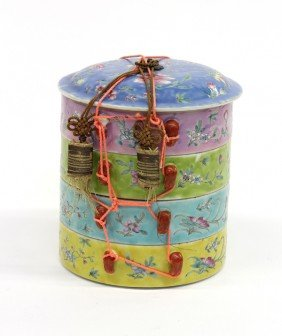 22: Chinese Enameled Porcelain Four-Tier Container