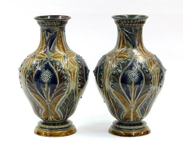 2005: Pair of Doulton Lambeth vases