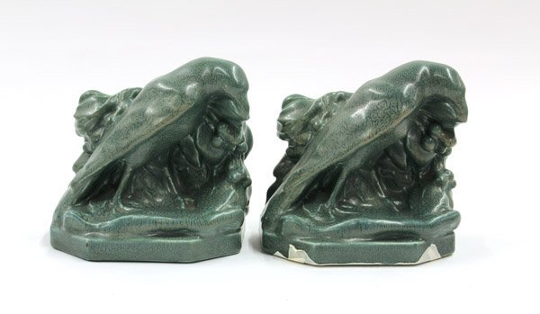 2018: Rookwood art pottery book ends