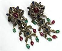 2445: Pair of Ruby, Sapphire, and Emerald Earrings