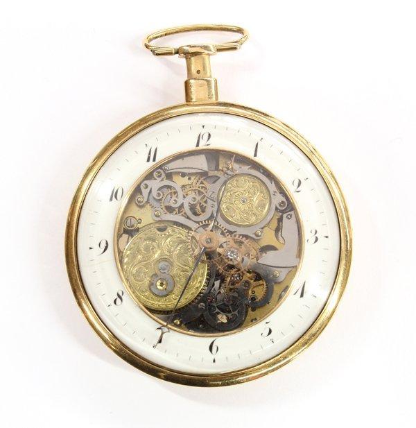 2453: Skeleton front ket wind yellow gold pocket watch