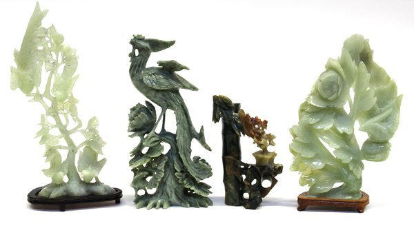 4: Four Chinese Jade/Hardstone Carvings, Birds