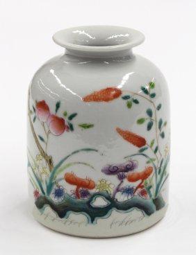 9: Chinese Famille Rose Porcelain Brush Washer