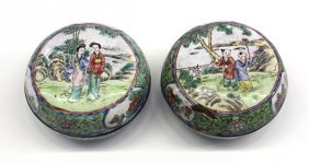 15: Chinese Canton Enameled Circular Boxes