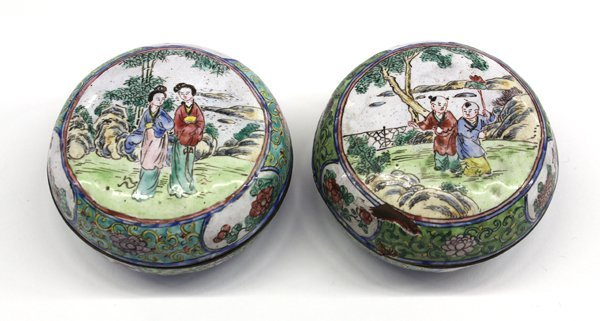 15: Chinese Canton Enameled Circular Boxes