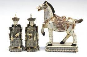 16: Chinese Pieced Bone Emperor, Empress, Horse