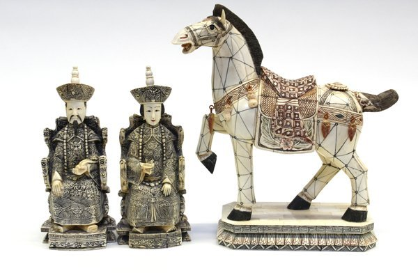 16: Chinese Pieced Bone Emperor, Empress, Horse