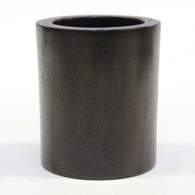 23: Chinese Cylindrical Hardwood Brush Pot