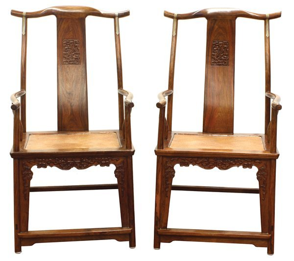 8143: Pair Chinese Huanghuali Armchairs, Qing