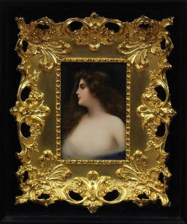 6019: Framed German porcelain plaque, Wagner