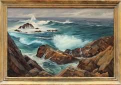 6067: Painting, Ray Strong, California Coastal Scene