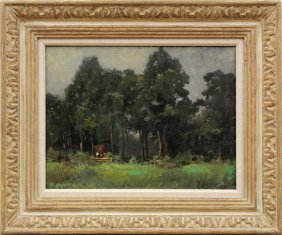 Painting, Lewis Cohen, French Woodland Scene
