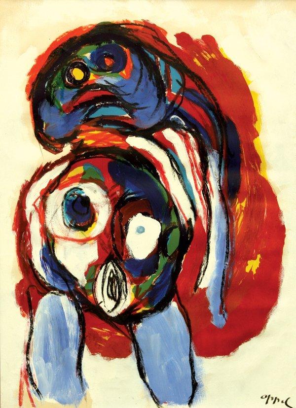 6137: Gouache, Karel Appel, Blue Nude