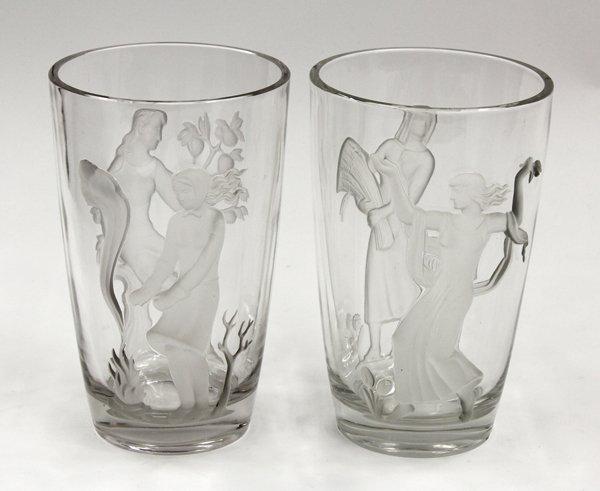 6357: Verlys Art Deco vases