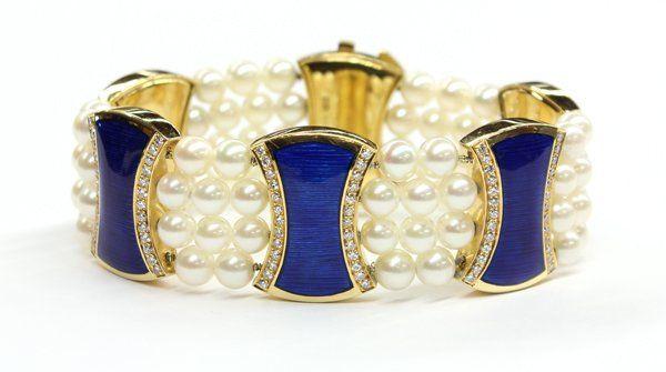 Cultured pearl, diamond and blue enamel bracelet