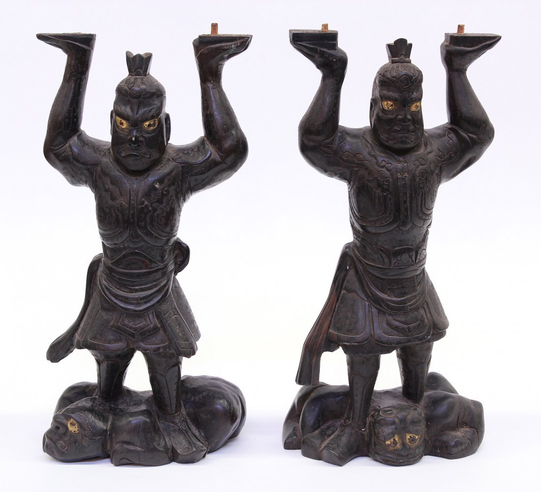 4000: Two Chinese Wood Figural Carvings