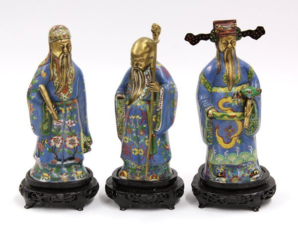 4005: Chinese Cloisonne Enameled Three Star Immortals