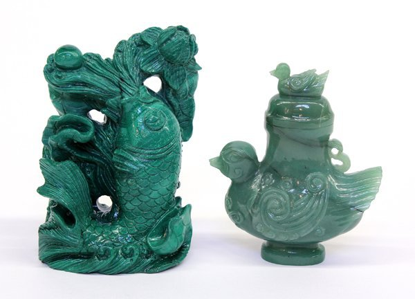 4006: Two Chinese Green Stone Carvings
