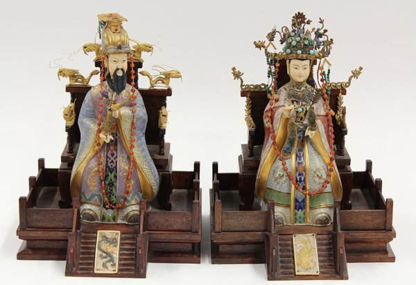 4010: Chinese Cloisonne Enamel Emperor and Empress