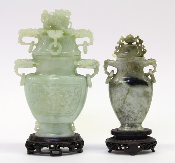 4011: Two Chinese Green Stone Urns