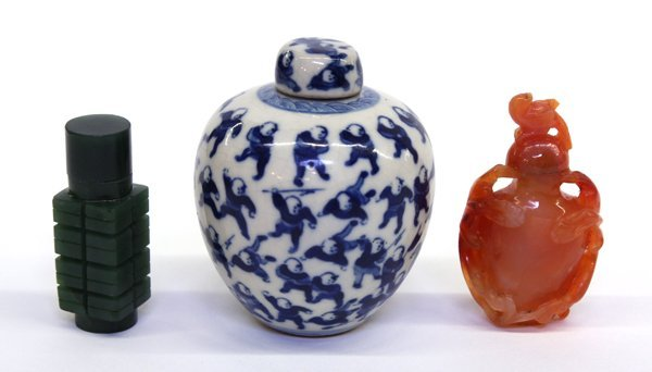 4015: Chinese Stone Snuff Bottles and Porcelain Jarlet