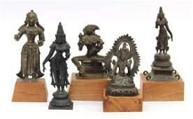 4077: Five East Indian Bronze Figures