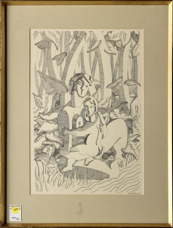 4176: Drawing, Mother Child, signed ''Harold Schwan''
