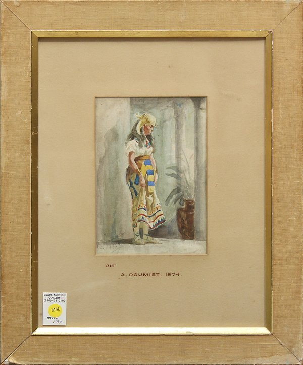 4187: Watercolor, Orientalist Woman, signed ''Doumiet''