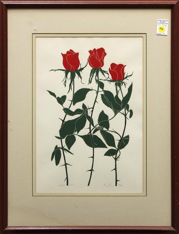 4328: Linocut, Henry Evans, Roses