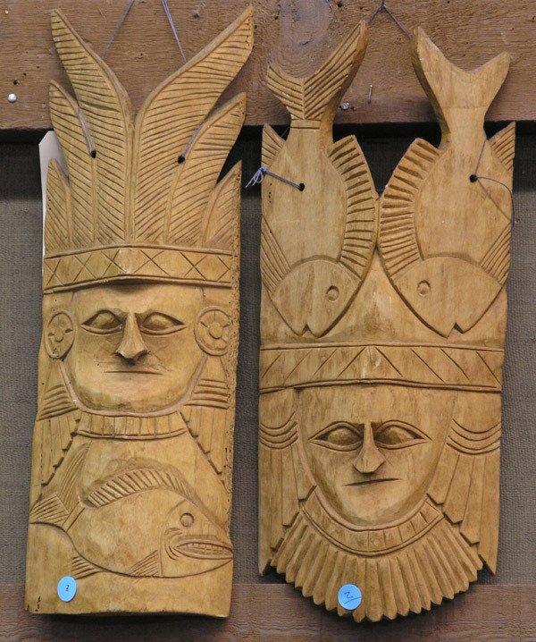 2: Carved wood face masks