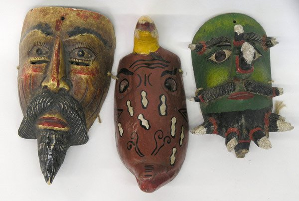 8: Carved wood masks, Mexico