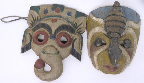 9: Mexican carved wood masks