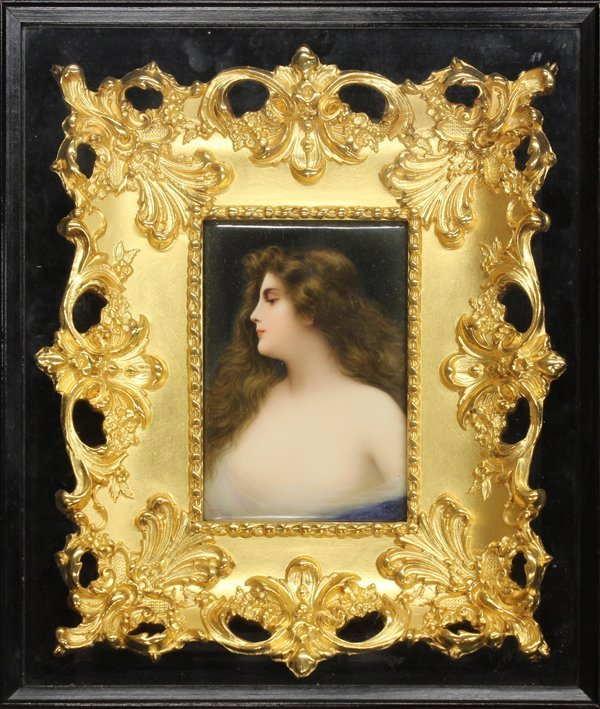 2020: Framed German porcelain plaque, Wagner