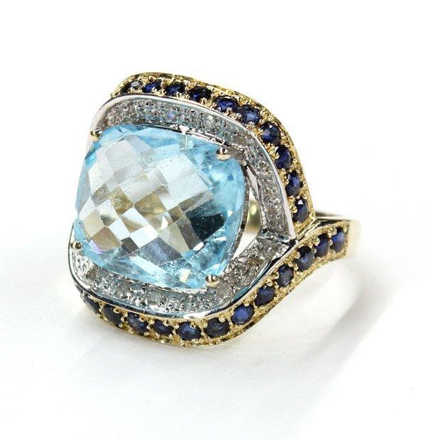 2421: 14K topaz, sapphire and diamond ring