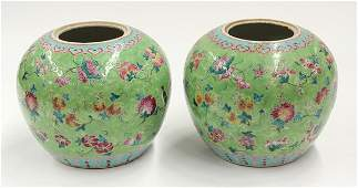 3139 Two Chinese Enameled Green Porcelain Jars