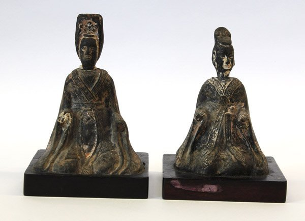 6: Pair of Chinese Grey Pottery Figures, N. Wei