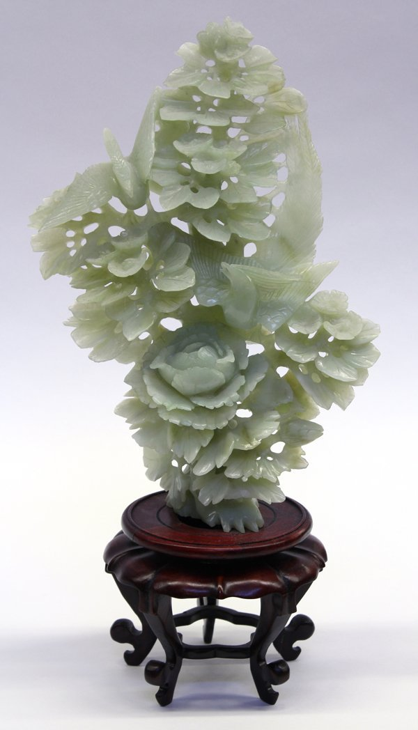 15: Chinese Green Hardstone Floral Carving