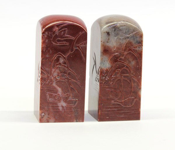 16: Two Large Chinese Soapstone Seals